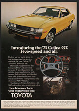 1974 TOYOTA CELICA GT 5- Speed Yellow Sports Car VINTAGE AD