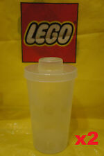 LEGO® Plastic Stackable Storage BRICK CONTAINER CUPS w/ Snap On Lids - Qty x 2