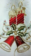 Elegantlinen Gorgeous Christmas Holiday Candle Ribbon Tablecloth with napkins