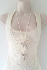 """Gorgeous 30"""" long silver tone chain necklace & diamante rose - butterfly pendant"""