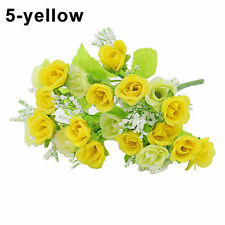1 Bouquet 21 Head Artifical Plastic Rose Wedding Home Decor Silk Flower Yellow
