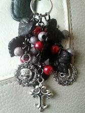 Gothic Cross and Skull Handbag Charm. Black, Red & Grey. Goth. Handmade. Gift