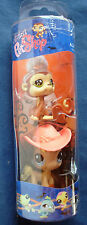 L1 Littlest Pet Shop tube Halloween angel monkey & blue eye pony w/hat