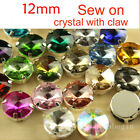 40pcs glass Rhinestone 12mm Sew On Crystal Round Stone Silver Plated chose color
