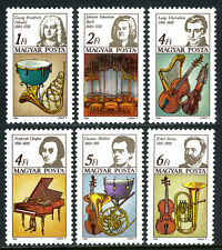 Hungary 2938-2943, MNH. European Music Year. Composers & Instruments, 1985