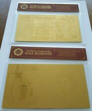 2x 50 Pound 24K Gold Foil Bullion Bar UK stock