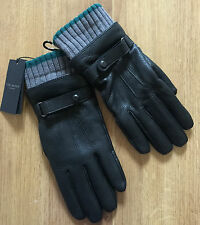 TED BAKER BLACK DEERSKIN & SHEEPSKIN LEATHER GLOVES WITH RIBBED CUFF SIZE S/M