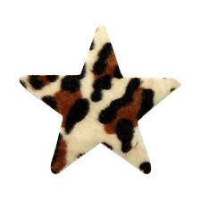 ID 9063 Fuzzy Felt Star Shape with Leopard Animal Print Iron On Applique Patch
