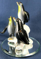 Penguins on the Ice Hand Made Glass Wildlife Figurine