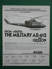 12/1982 PUB AGUSTA HELICOPTERE MILITAIRE AGUSTA BELL AB 412 GRIFFON ORIGINAL AD