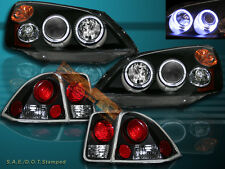 01 02 03 HONDA CIVIC 4 DR SEDAN 2HALO BLACK PROJECTOR HEADLIGHTS + TAIL LIGHTS