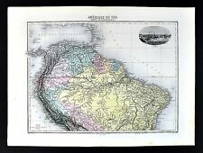 1880 Migeon Map - South America - Brazil Colombia Peru Venezuela Ecuador Amazon