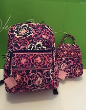 NWT Vera Bradley Large Campus Backpack With Lunch Box Bunch Katalina Pink