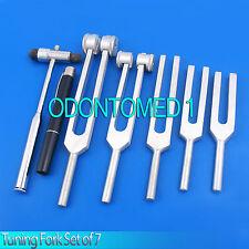 Tuning Fork Set of 7 - Medical Surgical Diagnostic instruments+ FREE PEN LIGHT