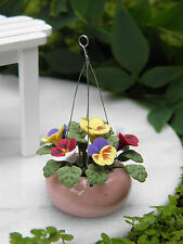 Miniature Dollhouse FAIRY GARDEN ~ Multi Pansy Flowers in Pink Hanging Pot ~ NEW