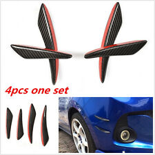100% Carbon Fiber 4pcs Car SUV Front Bumper Fins Lip Kit Canards Splitters Trim