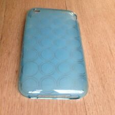 Clear Light Blue Circle TPU Rubber Case Cover & LCD Protector For iPhone 3GS 3G