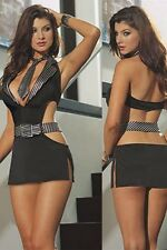WOMANS LADIES SEXY SECRETARY COSTUME HEN DOO FANCY DRESS PARTY ROLEPLAY OUFIT