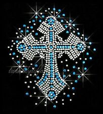 "Hotfix Cross Rhinestone Iron on Transfer  ""Med Blue Cross"""