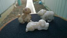 Group of Three High Quality Serpentine Hardstone Amulets Animals Various.