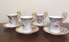 T & V Limoges Hand Painted Floral Cup & Saucer with Heavy Gold Trim ~ Set of 4
