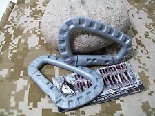 Tactical Military D Ring Carabiners 2pc MOLLE Hiking Survival Hunting Light Gray
