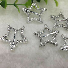 30Pcs Heart Crystal Rhinestone Buckle Invitation Wedding Diamante Ribbon Slider
