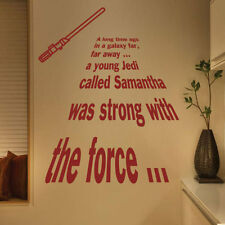 Personalized Star Wars A Long Time Ago Jedi Wall Quotes Stickers Kids 222