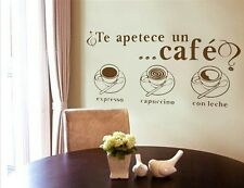 Spanish Cafe Coffee Expresso Cappuccino Wall Decal Stickers Vinyl Room Art Decor
