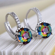 Women Fashion 925 Sterling Silver Rainbow Mystic Topaz Stud Hoop Earring Jewelry