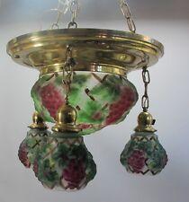 """Rare PHOENIX CONSOLIDATED Art Nouveau """"Puffy"""" Light Fixture Chandelier c. 1910"""