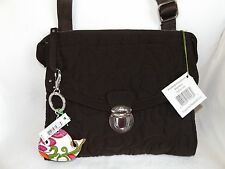 VERA BRADLEY PUSHLOCK CROSSBODY ESPRESSO BROWN MICROFIBER IPAD & FREE KEY CHAIN