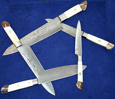 5 Pc's Beautiful Custom hand made Damascus steel Chef knife Set. (ZE-1071-BS)