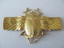 ART DECO EGYPTIAN LARGE GOLD PLATED & WINGED SCARAB BEETLE DESIGNED BROOCH PIN