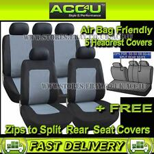 Negro Gris Racing II de estilo Airbag Ok coche 50-50 60-40 asiento trasero dividido cubre Set +