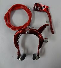 Bike Brake MX Red Rear Caliper Steel Sidepull BMX 20 in Bicycle Handle & Cable