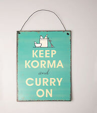 Retro mantener Korma Y Curry en Colgar Metal Lata Pared Cartel Placa Shabby Chic