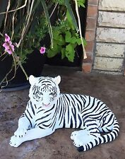 "Large Siberian Ghost White Tiger Resting 15.5"" Long Statue Home Garden Decor"