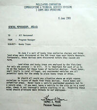 Original field memorandum from Program Manager of Philco-Ford re: booby traps