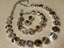 Swarovski Crystal Elements Rose Gold Bracelet Silver Cup Chain 12mm Jewelry Set