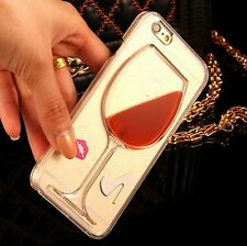 For iPHONE 4 4S - Hard Clear Protector Skin Case Cover Red Wine Glass w/ Liquid