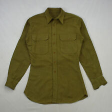 Vintage Wool Gaberdine Olive Green Military Oxford Button Down Shirt Small Long