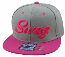 NEW VINTAGE SWAG 3D EMBROIDERY FLAT BILL SNAPBACK CAP HIP HOP HAT GRAY/HOT PINK