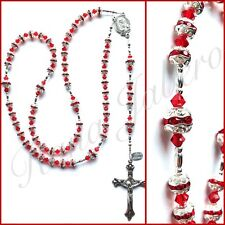 RED & SILVER Swarovski Crystal Prayer Catholic Rosary Beads Christian Gift