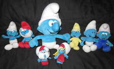 Big LOT Soft Plush SMURF Family TOYs + Finger Puppets Papa Blue Classic Cartoon