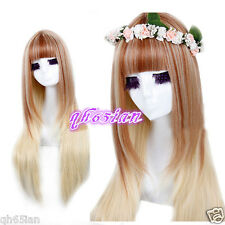 NEW Lolita Long Straight Brown blonde mixed red Hair Cosplay full Wigs +Wig gift