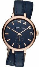New Marc by Marc Jacobs MBM8662 Sally Rose Gold Blue Leather Strap Women's Watch