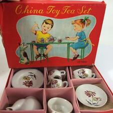 1950's Japan Child Doll Toy Tea Set 17 pc China Flower Pattern Orig Litho Box