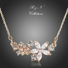 18K Gold Plated Star Flower Swiss Cubic Zirconia Pendant Necklace (N555-30)