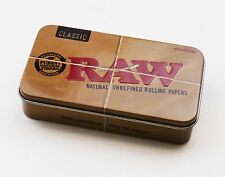 RAW CLASSIC 2oz METAL TOBACCO TIN WITH LID GIFT BOX ROLLING PAPERS RAWLIFE